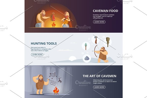 Caveman And Woman In Prehistoric Period Banners Set With Place For Your Text