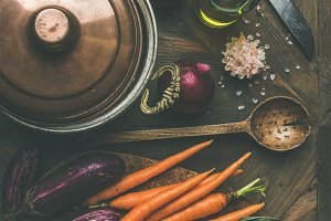 Autumn healthy ingredients for Thanksgiving day dinner preparation, top view