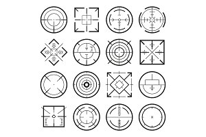 Different military targets for strategy games. Vector monochrome pictures