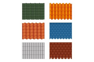 Vector seamless pattern set of roof tiles. Pictures isolate on white