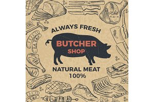 Retro poster for butcher shop. Hand drawn illustration