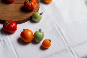 Fresh colorful organic tomatoes