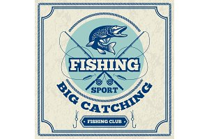 Poster for fishing club. Monochrome illustration of pike