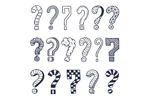 Set of drawn question marks in different styles. Vector doodles
