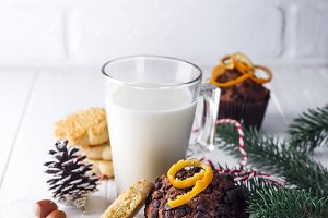 Cookie with milk and christmas tree