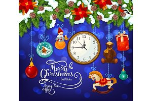 Christmas and New Year greeting card of Santa gift