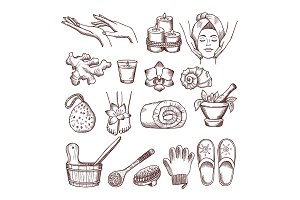 Doodle pictures set for relaxing or massage spa salon. Aromatherapy illustrations