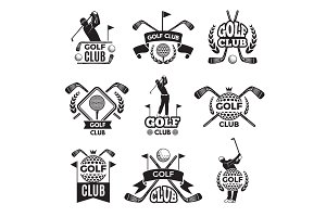 Badges or logos for golf club. Monochrome pictures isolated on white