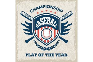 Retro poster for baseball club. Sport emblem in vector style