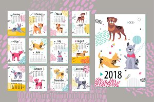 Calendar with Months and Dogs Vector Illustration
