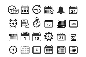 Different monochrome symbols of time management. Vector icon set