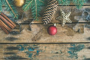 Christmas, New Year holiday flat-lay over wooden background, square crop