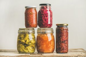 Autumn seasonal pickled or fermented vegetables. Home food preserving