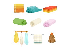 White and colored soft bathe or kitchen towels. Vector illustrations isolate