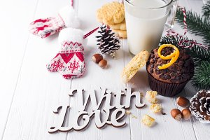 chocolate muffins with jug with milk