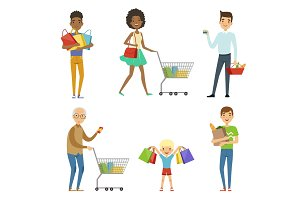 People of different ages make shopping. Vector characters isolate on white