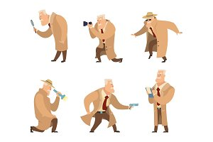 Detective in different action pose. Vector character in cartoon style
