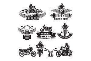 Emblems or logo designs for club of bikers. Illustrations of custom motorcycles and choppers