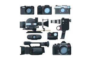 Digital video cameras and different professional equipment
