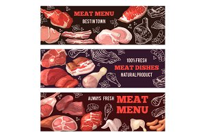 Banners with pictures of meat. Brochure design template for butcher shop