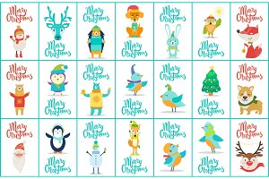 Merry Christmas Big Collection Vector Illustration