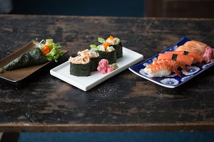 Temaki, Sushi Roll, and Nigiri Set