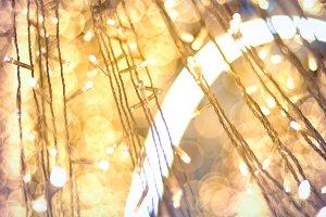 light on christmas tree with bokeh f