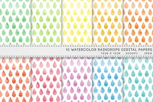 Watercolor Raindrops Digital Paper