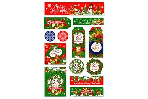 Merry Christmas holiday wish vector greeting cards