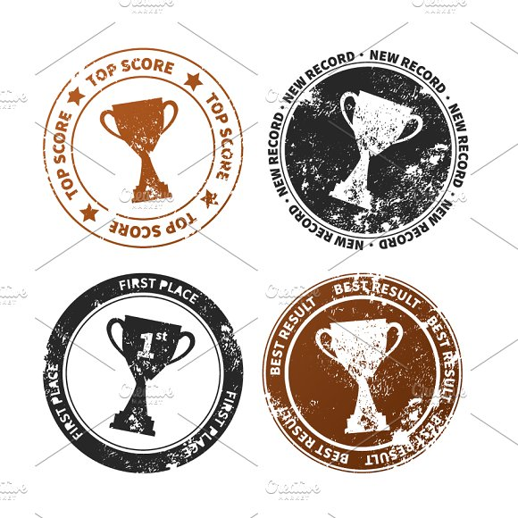 Retro stamp imprints with winner cup