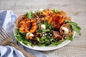 Salad of ham, nectarine ,mozzarella