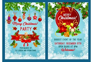 Christmas party invitation with New Year garland