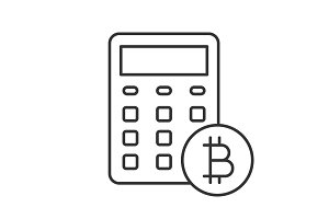 Bitcoin calculator linear icon