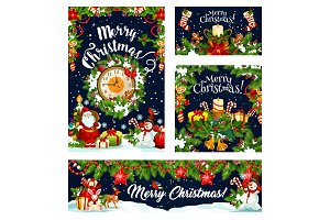 Christmas card and banner of winter holiday design