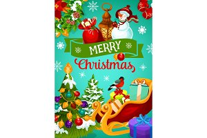 Christmas greeting banner with winter holiday gift