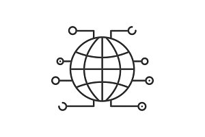Global cryptocurrency linear icon