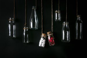 Set of empty bottles