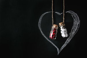 Bottles with hearts