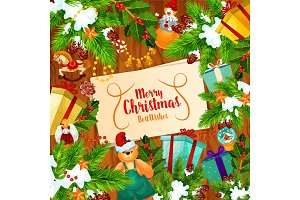 Christmas banner with Xmas tree and New Year gift