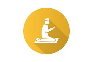 Praying muslim man flat design long shadow glyph icon