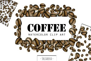 Coffee. Watercolor clip art.