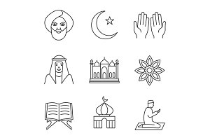 Islamic culture linear icons set