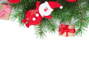 Christmas background with decorations isolated on white with copy space for your text. Top view