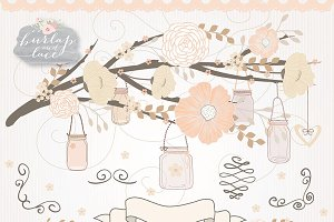 Vector Rose peach mason jar rustic