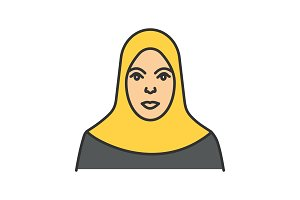 Muslim woman color icon