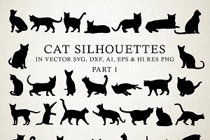 Cat Silhouettes Vector Pack 1