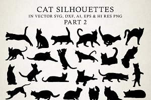 Cat Silhouettes Vector Pack 2