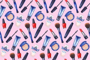 Watercolor women's make up pattern