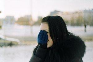 Brunette girl and white snow