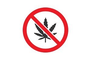 Forbidden sign with marijuana leaf glyph icon